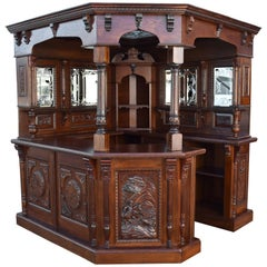 19th Century English Victorian Carved Oak Canted Corner Bar