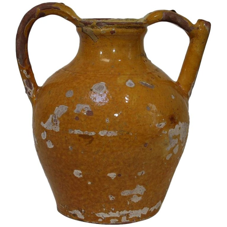 19th Century French Terracotta Jug or Water Cruche For Sale