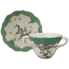 Worcester Porcelain Chocolate Cup and Saucer, 'Spotted Fruit' Painter