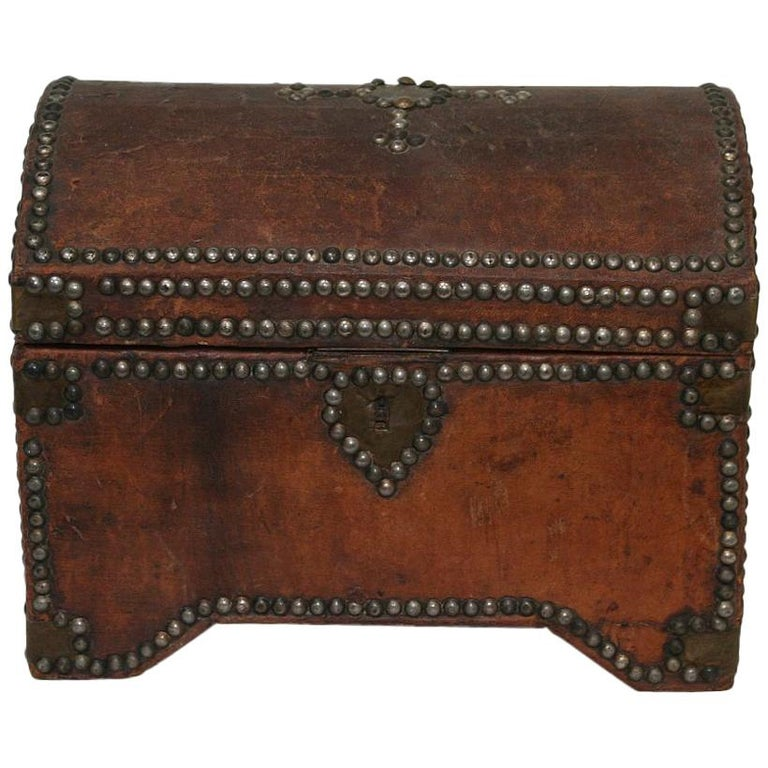 French Early 20th Century Folk Art Vintage Leather Box For Sale