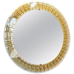 Round Mid-Century Modern Mirror, Glass Gold Carved Frame by Cristal Arte, Italy