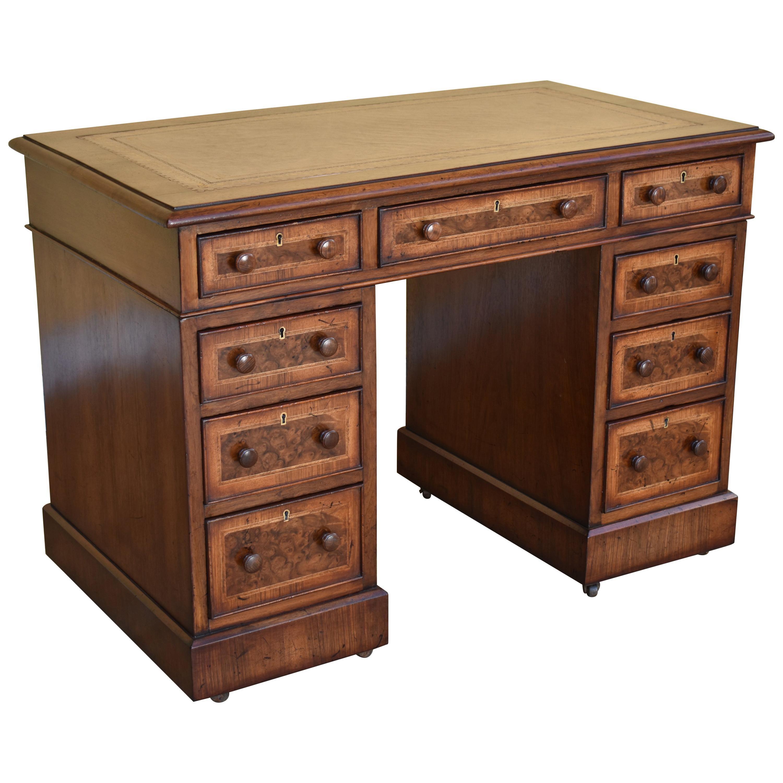 19th Century English Victorian Burr Walnut Pedestal Desk