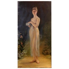 American Art Nouveau Oil on Canvas Painting, Portrait of a Woman in a Landscape