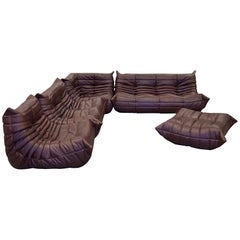 Dark Brown Leather Togo Living Room Set by Michel Ducaroy for Ligne Roset, 1970s