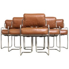Midcentury Mariani for Pace Brown Leather and Chrome Arm Chairs, Set of 6