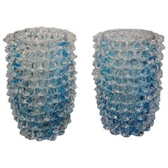 Pair of Turquoise Blue Vase in Murano Glass with Spikes Decor, Barovier Style