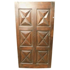 18th Century Antique Brown Walnut Wood Door, Carved Symbols, with Diamonds