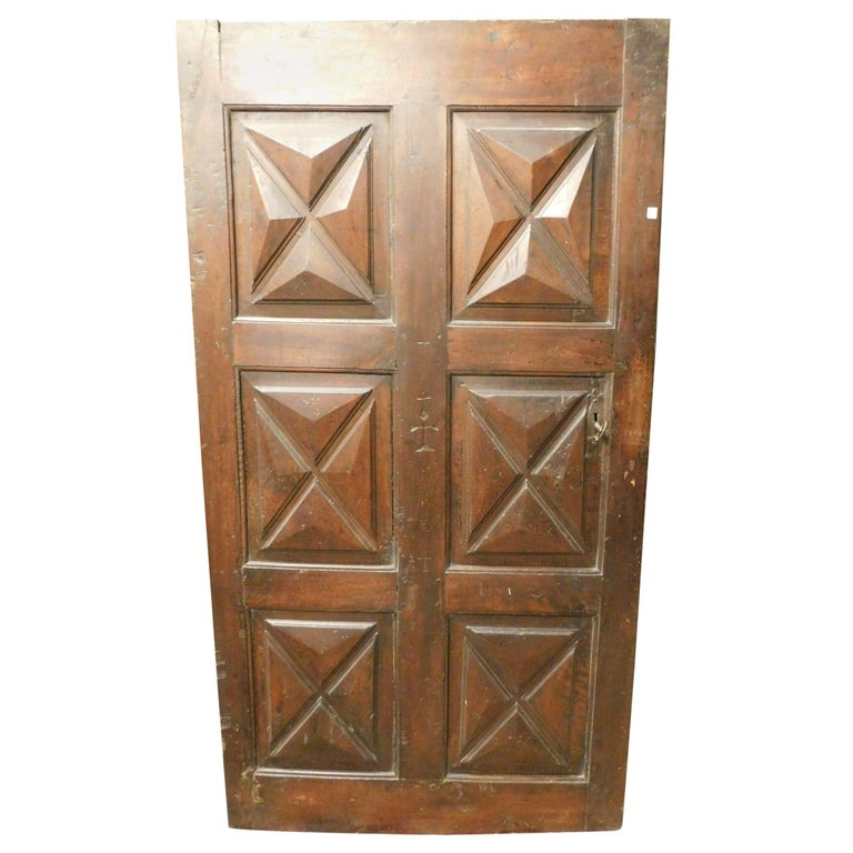 18th Century Antique Brown Walnut Wood Door, Carved Symbols, with Diamonds For Sale