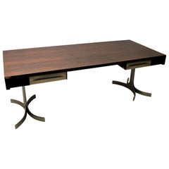 Large Executive Desk by Trau, Italian 1960s, Wooden Top on Curved Metal Legs