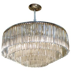 Italian Mid-Century Modern Layered Glass Prism Chandelier