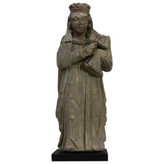 French Medieval Carved Stone Madonna