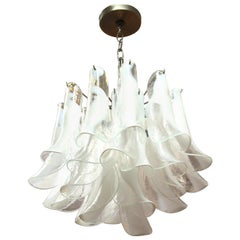 Italian Modern White Glass Handkerchief Chandelier