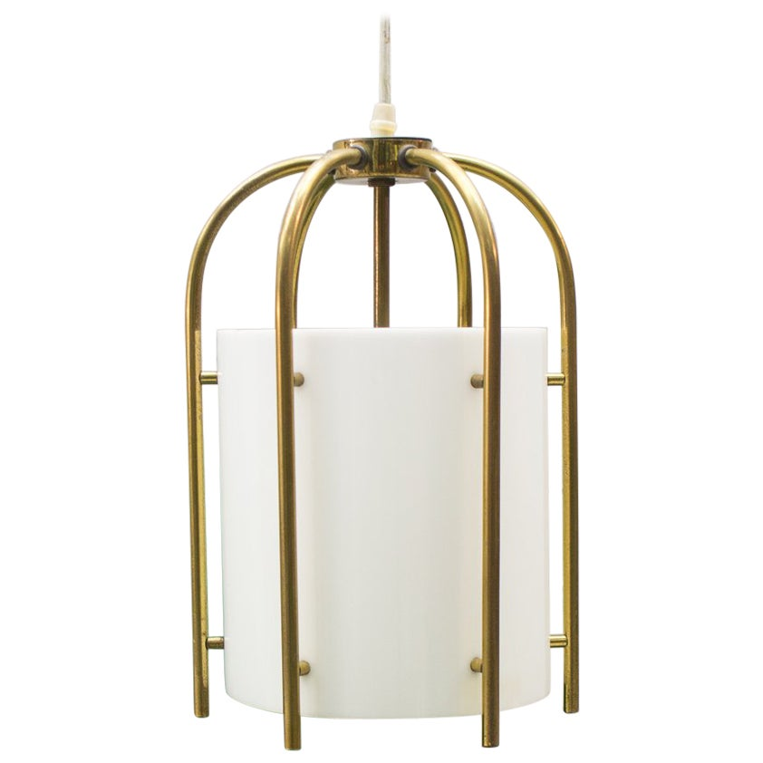 Brass and Plexiglass Church Pendant Lamp, Germany, 1960s