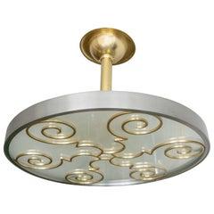 Lars Holmstrom Scandinavian Modern Steel and Brass Pendant, Arvika, Sweden