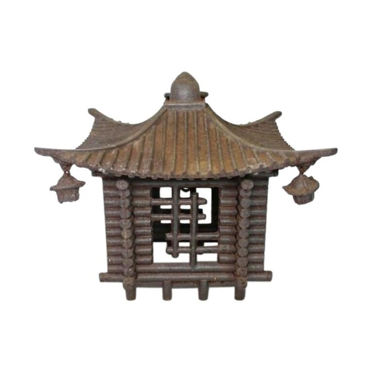 Japanese Large Antique LOG CABIN Lantern and Wind Chime, Fine Details 100 Years For Sale