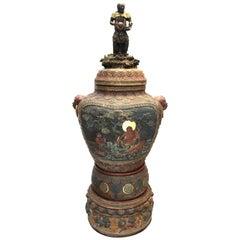 Japanese Meiji Satsuma Polychrome Monumental Lidded Vase on Stand