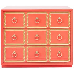 Authentic Dorothy Draper Espana Chest in Coral Lacquer 'Pair Available'