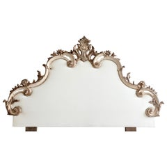 Early 20th Century Venetian Headboard in Antique White with Silver Highlights