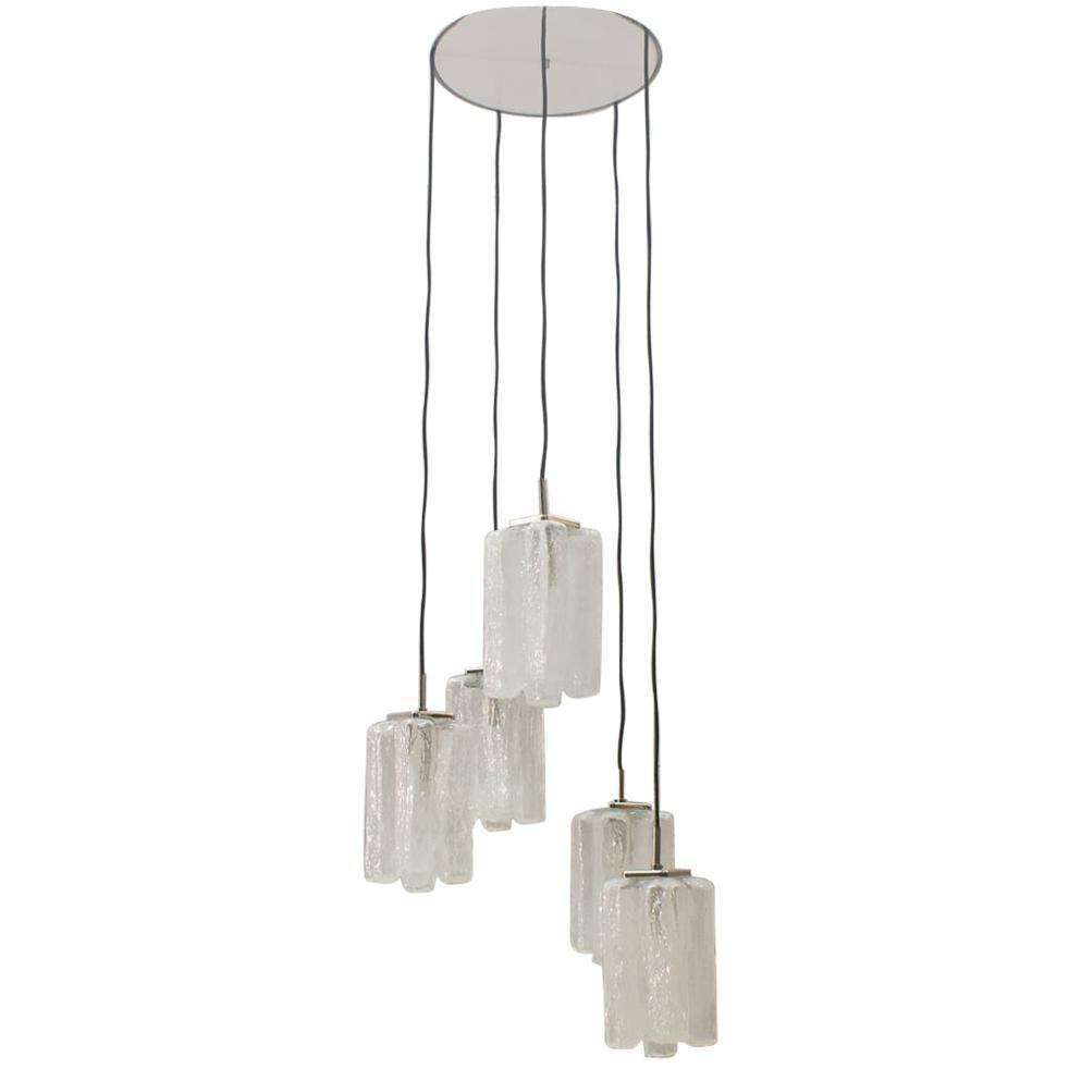 Granada Ice Glass Cascading Ceiling Lamp from Kalmar Franken KG, 1960s