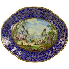 Sevres Style Porcelain Plaque, Military Encampment, circa 1850