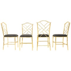 Brass Bamboo Hollywood Regency Dining Chairs, France, 1960s
