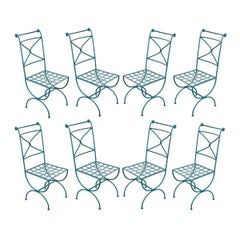 Suite of Eight Early 20th Century Roman-Style Painted Wrought-Iron Side Chairs