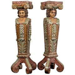 Pair of Italianate Figural Painted Wood Pilaster Supports