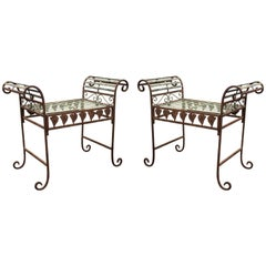 Hollywood Regency Metal Benches