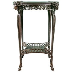 Bronze Gueridon Table with Ram's Head Accents