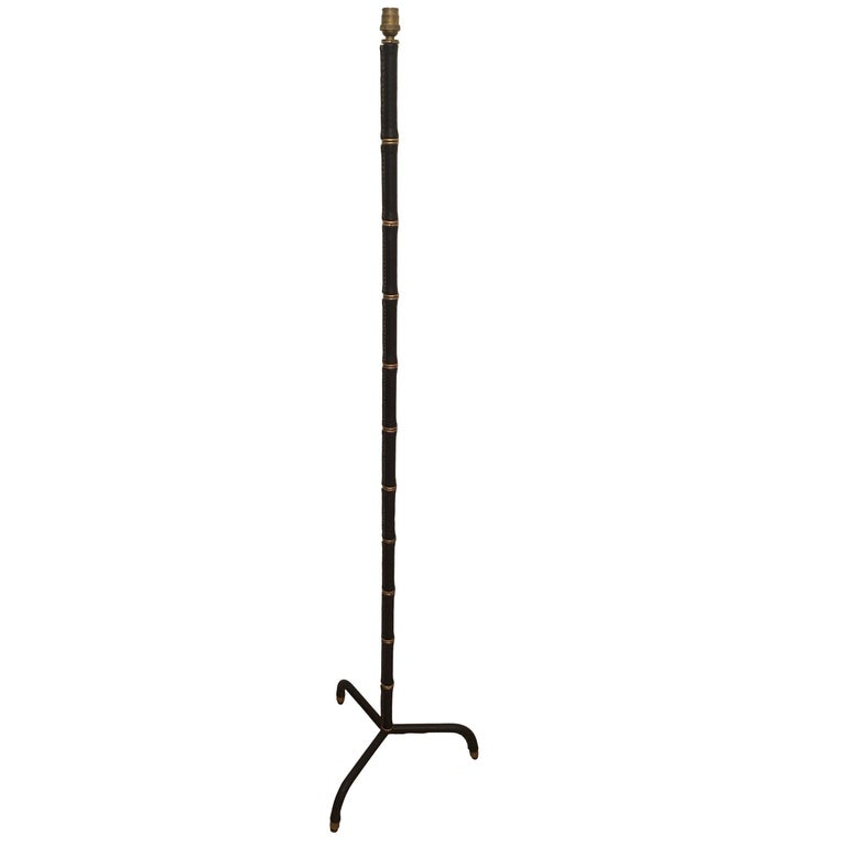 Jacques Adnet Black Stitched Leather Floor Lamp, Bamboo Form, French, 1950s For Sale