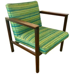 Dunbar Edward Wormley Walnut Architectural Open Arm Lounge Chair
