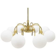 Elegant 1960s Brass Ceiling Lamp with 8 Opaline Glass Globes