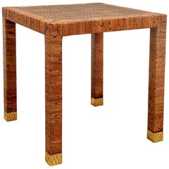 Fine Rattan Banded End Table with Caned Top by Bielecky Bros.