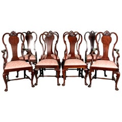 Set of Eight Queen Anne Style Cuban Mahogany Dining Chairs