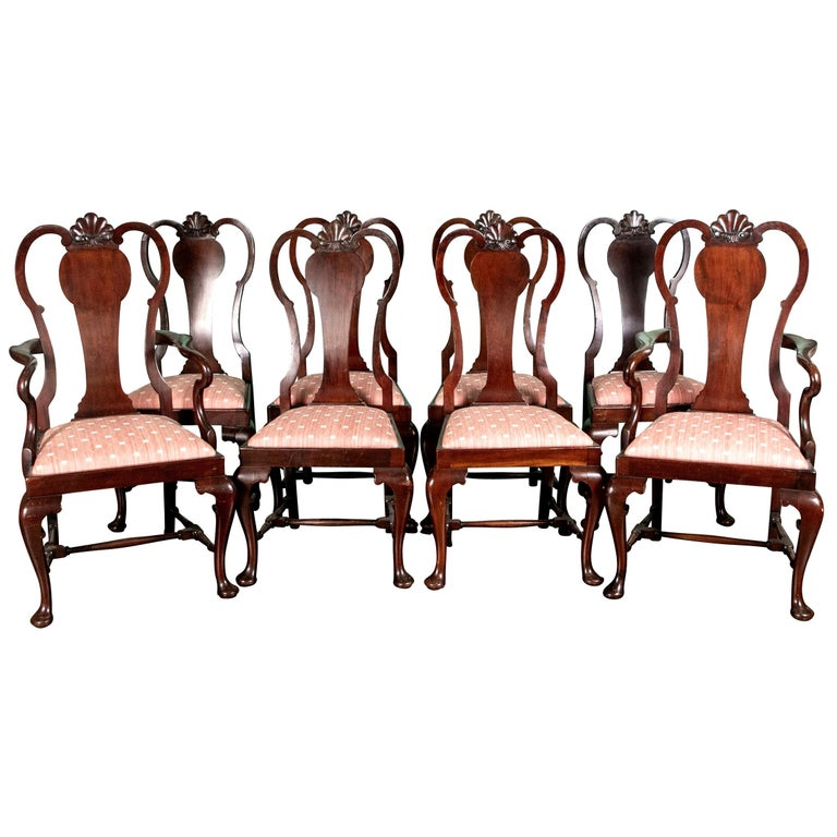 Set of Eight Queen Anne Style Cuban Mahogany Dining Chairs For Sale