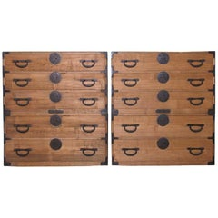 Pair of Japanese Kiri 2-Section Tansu Clothing Storage Chest