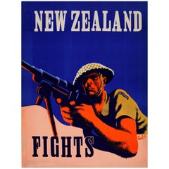 Original Vintage World War Two Poster New Zealand Fights WWII Military History