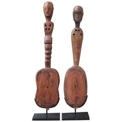 Pair of Hardwood Sumbanese Lutes with Anthropomorphic Figures, 20th Century