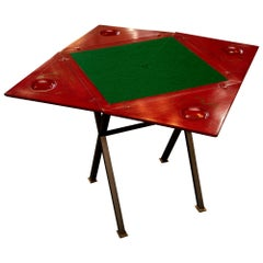 Chinoiserie Decorated Lacquer and Steel Games Table