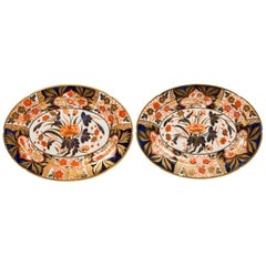 Pair Antique Imari Inspired Porcelain Dishes Hand-Painted by Coalport Circa 1810