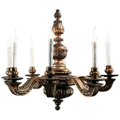 Antique Italian Giltwood Baroque Chandelier