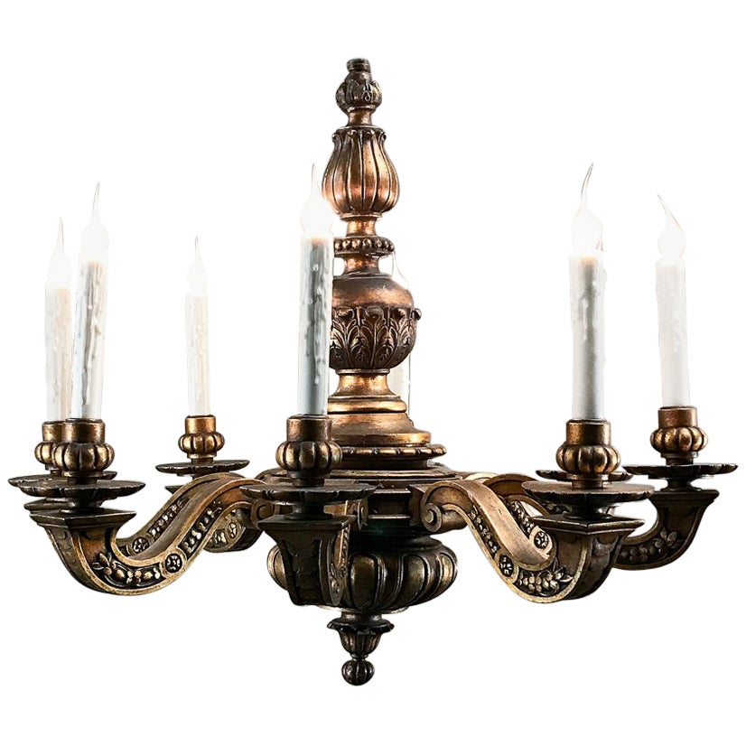 Antique Italian Giltwood Baroque Chandelier