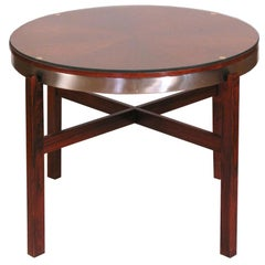 Mid-Century Modern Danish Round Rosewood Side Tray Table