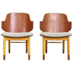 Vintage Midcentury Danish Modern Kofod Larsen Two-Toned Penguin Chairs, 1960s