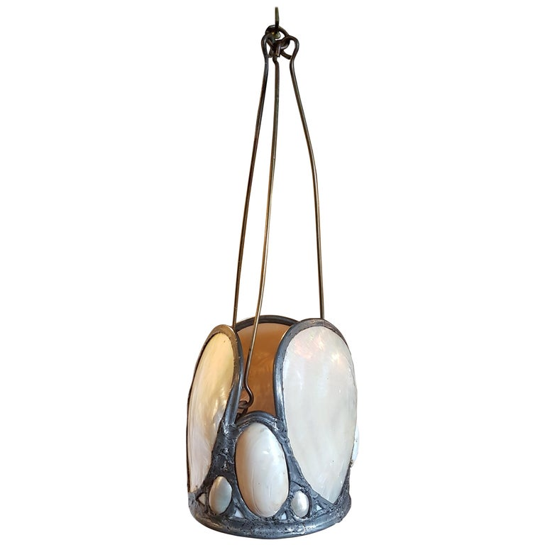 Early 20th Century Oyster Shell Hanging Lantern from Upton House Estate For Sale