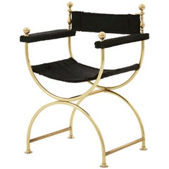 Brass Campaign Chair Upholstered in Black Cowhide