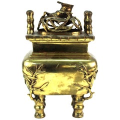 Chinese Temple Incense Burner in Gilt Brass