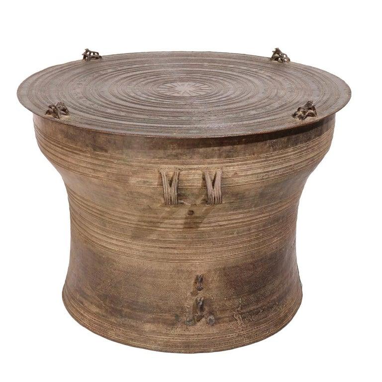 Burmese Karen Bronze Frog Drum For Sale