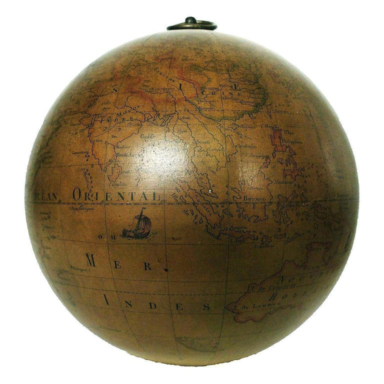 Terrestrial Globe French 18th Century, Most Unusual Swinging Structure For Sale