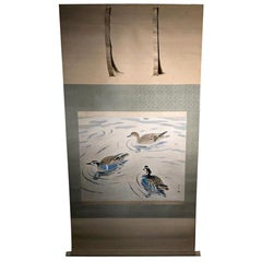 "Extraordinary Antique Japanese ""Three Mandarin Ducks"" Hand Painted Silk Scroll"